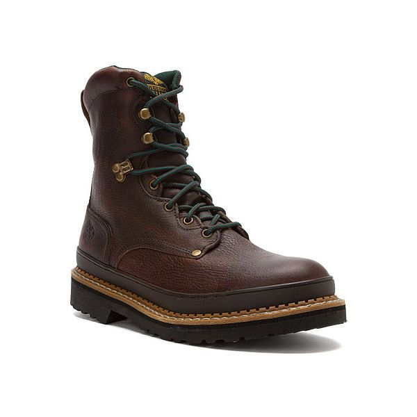 Georgia Boot G8374 Georgia Giant 8 ST EH Boot Boots ($145) ❤ liked on Polyvore featuring men's fashion, men's shoes, men's boots, men's work boots, soggy brown leather, mens steel toe work boots, mens brown boots, mens brown work boots, mens work boots and mens boots
