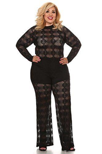 Fifth Degree Plus Size Lace Wide Leg Long Sleeve Black Jumpsuit – 1X