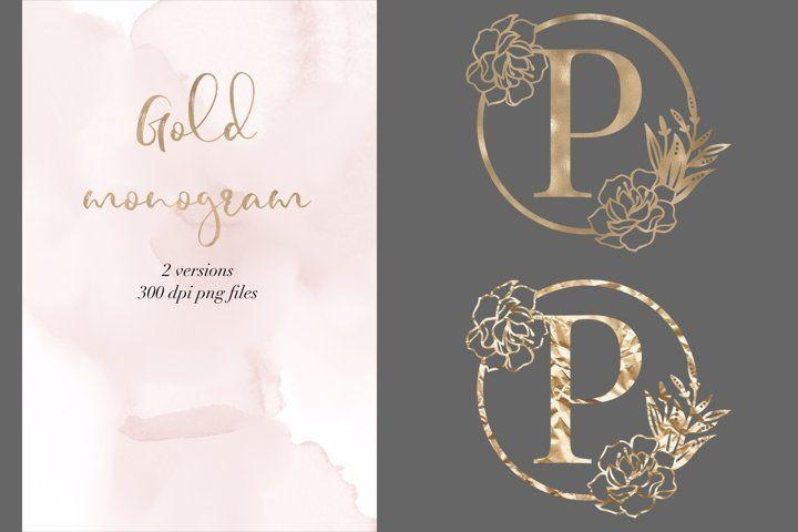 Letter P Peony Gold Monogram Gold Monogram Transparent Png 568846 Digital Design Bundles Gold Monogram Lettering Letter P