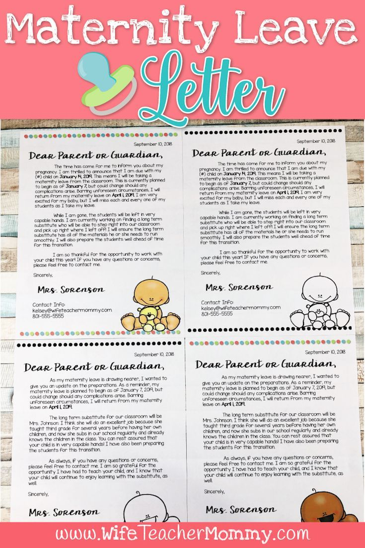 Editable Maternity Leave Letter To Parents Freebies For
