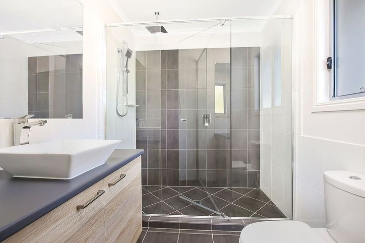 Modern Ensuite with large shower & Polytec natural oak cabinets | Tru-Built Builders Queensland
