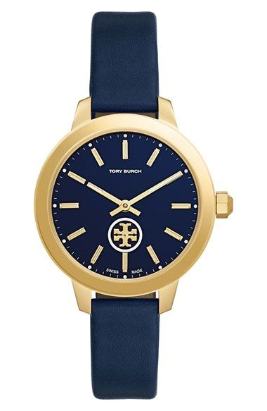 Free shipping and returns on Tory Burch 'The Collins' Leather Strap Watch, 38mm at Nordstrom.com. Golden stick indexes coordinate with the highly polished case of a charming Swiss-made timepiece viewed through a scratch-resistant sapphire crystal face. The unmistakable logo medallion is actually a subseconds dial, providing a delightful detail by rotating with each tick. A comfortable strap of smooth, supple leather completes the preppy design.