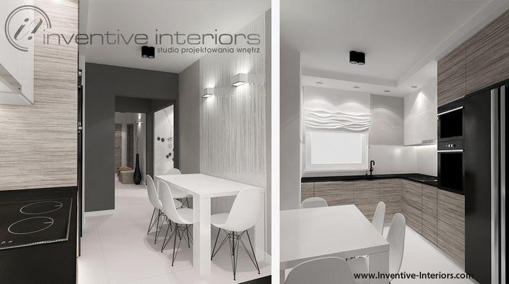 Projekt kuchni Inventive Interiors - stół w wąskiej kuchni - jasne drewno i czerń w kuchni
