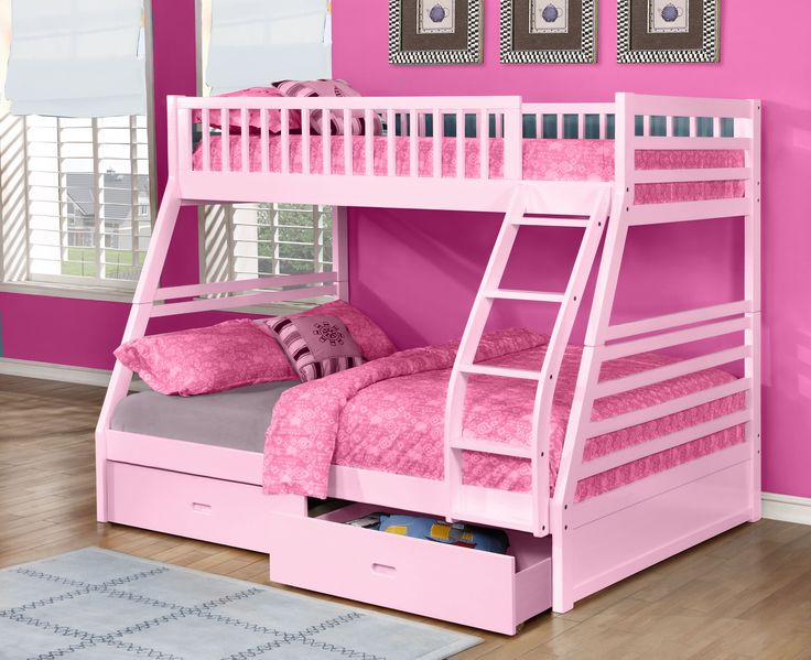 """FREE SHIPPING in Canada. Fraser III Pink Twin (Single) over Full (Double) Bunk Bed with Storage Drawers. This bunk bed is constructed from pine wood for long-lasting durability in a soft pink finish. To maximize your storage space, two under-bed storage drawers are included! Overall Dimensions: 79""""W x 57.25""""D x 65""""H. Available in Espresso, Grey, Oak, Pink, and White. Visit website for more information or call us at 1-866-595-8930."""