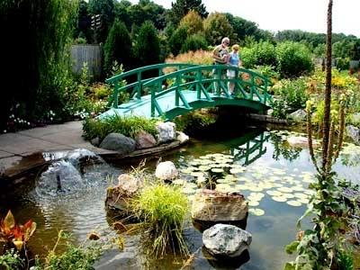 Monet inspired bridge in the water garden of the Michigan 4-H children's garden.
