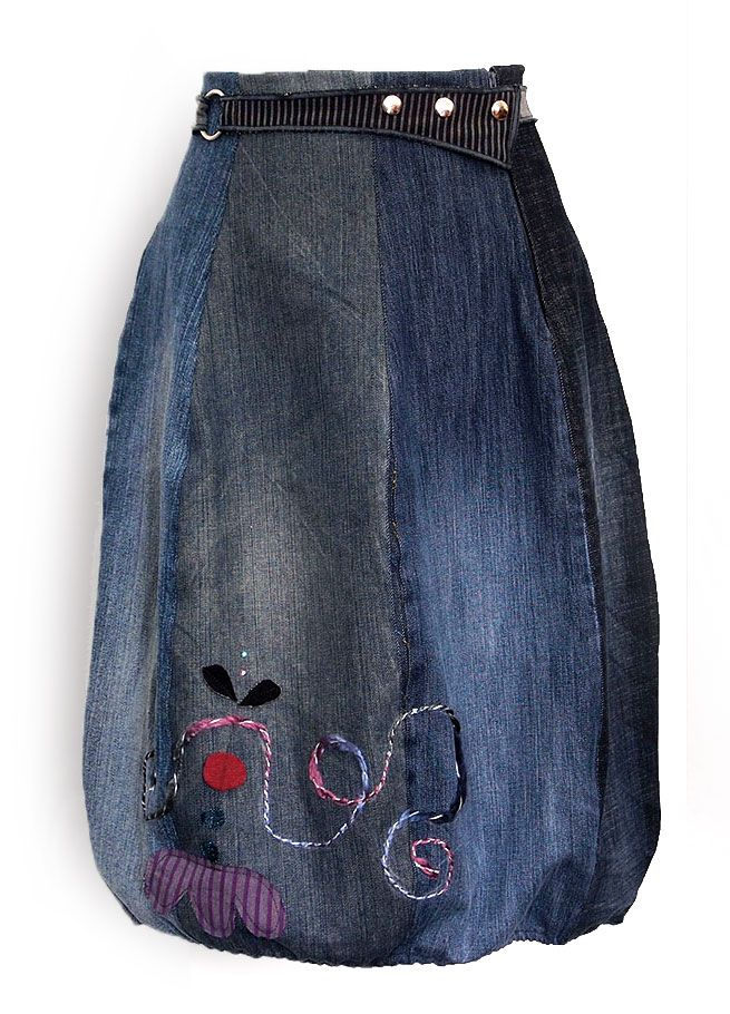Kesidov -The Curve skirt - made of upcycled jeans, with elastic on the bottom. Measuring about 68 cm.  63.00 €