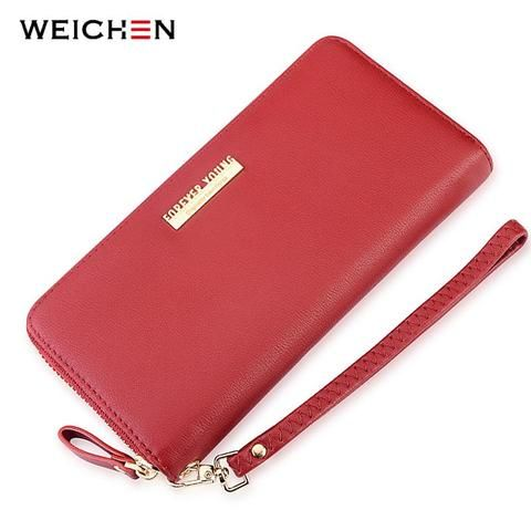 Burgundy Large Capacity Wristband Women Wallet Lady Clutch Purse Cell Phone  Pocket Card Holder Long Carteira Red Wallets Female 23c5869a93cb