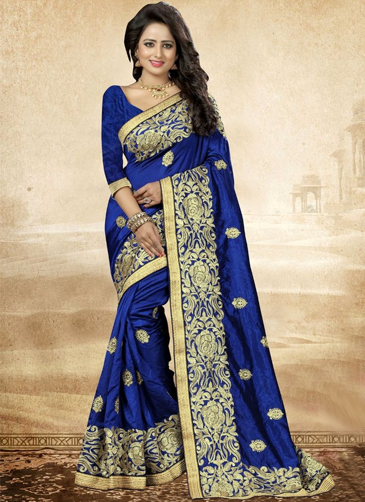 Online shop for latest indian sarees. Shop this appealing blue designer saree.
