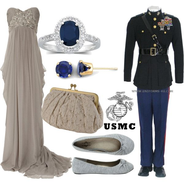 """USMC ball"" by sunflower09 on Polyvore I wouldn't wear cotton flats with that gown,  but everything else is gorgeous"