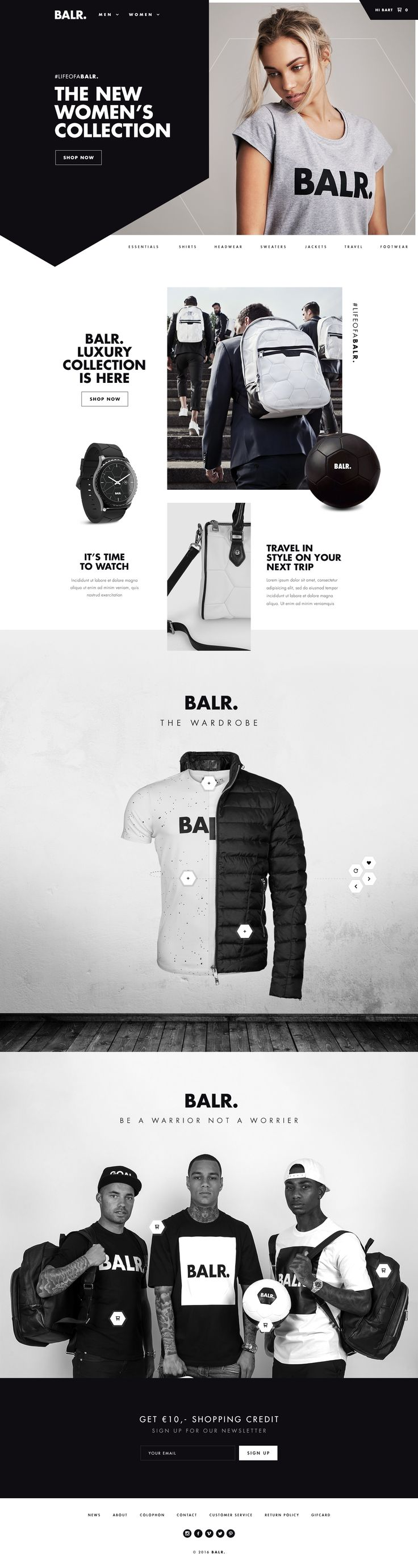 Ui design concept for Balr.com eCommerce website by Bart Ebbekink.