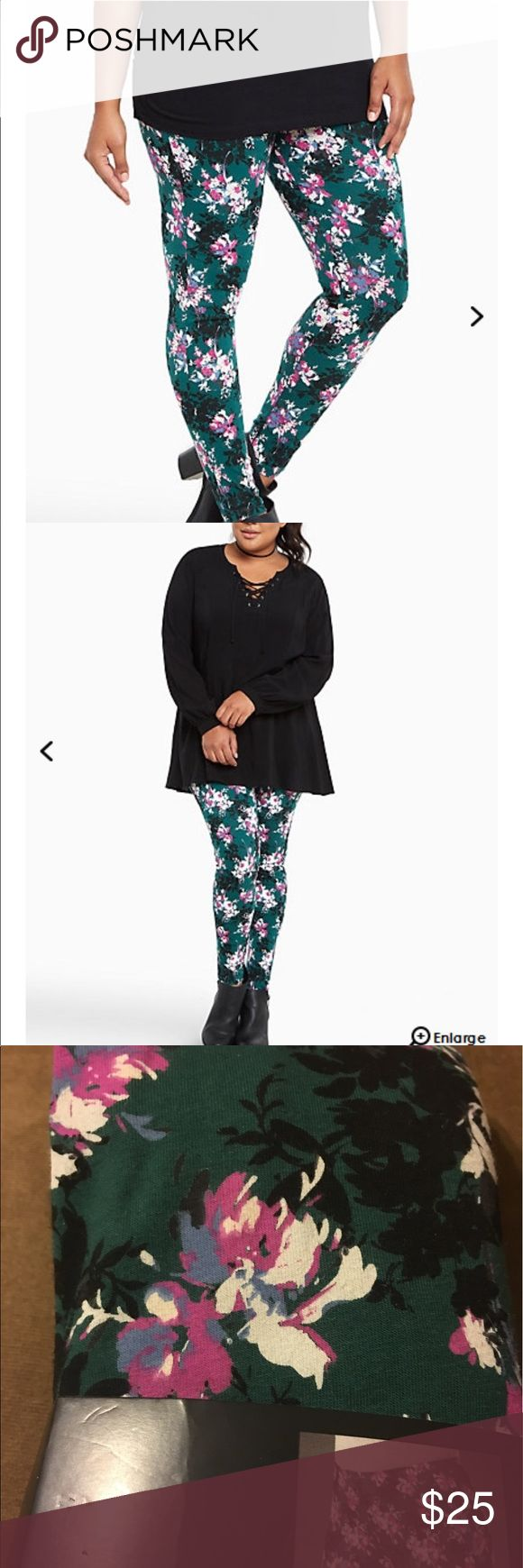 NWT torrid size 3 floral full length leggings NWT torrid size 3 floral full length leggings.  Save on your water bill, wear floral prints instead. These full length leggings are fitted from stretch waistband to tapered leg, in a forest green knit. The multi-color floral print ka-blooms with or without water. torrid Pants Leggings