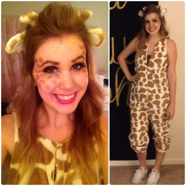 Giraffe costume & make up. Made from a giraffe onesie from WalMart! Makeup done with Naked pallet and false eyelashes.