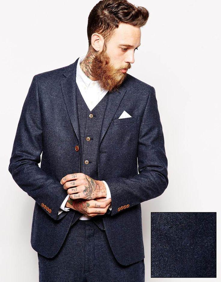 ASOS Slim Fit Suit Jacket In Herringbone