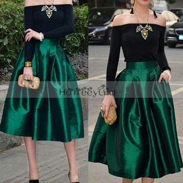Evening Dress,Boat-Neck Evening Dress,Off Shoulder Evening Dress,Long Sleeve Evening Dress,Formal Evening Gowns,Black And Emerald Green Evening Dress,Short Evening Dress HG701