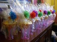 Margarita glasses as favors for a fiesta bridal shower
