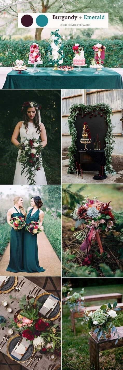 Burgundy and emerald wedding color ideas / http://www.deerpearlflowers.com/top-8-burgundy-wedding-color-palettes-youll-love/