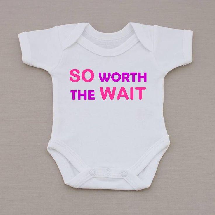 Cute Pink So Worth The Wait Baby Vest / Bodysuit