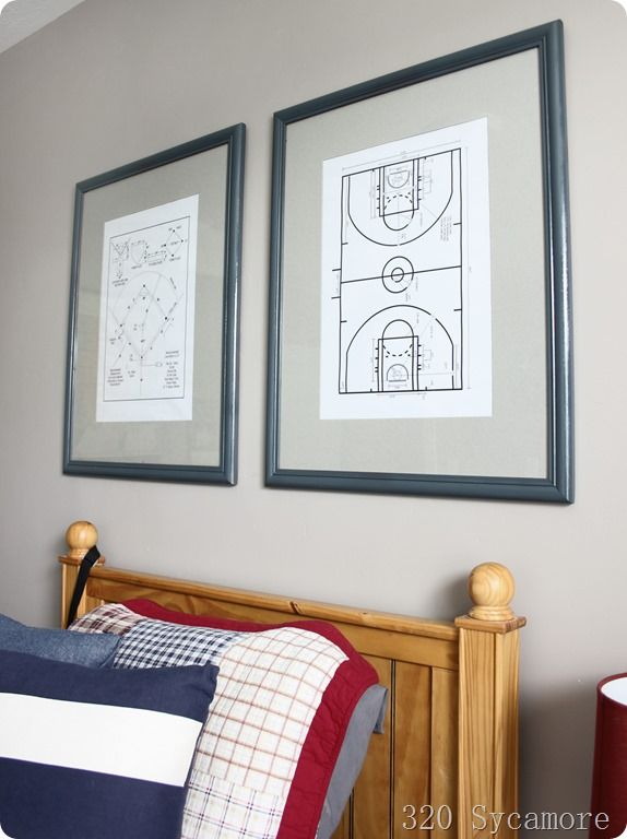 Easy artwork for boy's room–would also be great for a play room, rec room, bonus room. She found plans of sports fields online, printed and framed them. Brilliant! Could also do this idea for other simple plans… like star wars