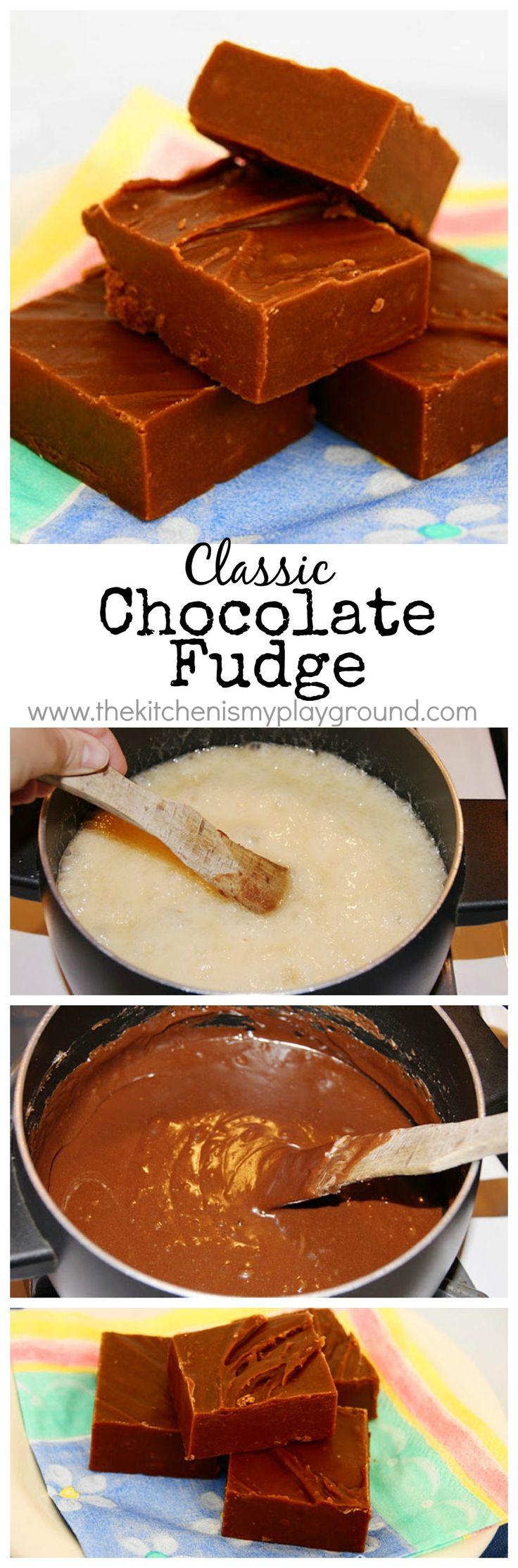 Creamy classic Chocolate Fudge www.thekitchenismyplayground.com