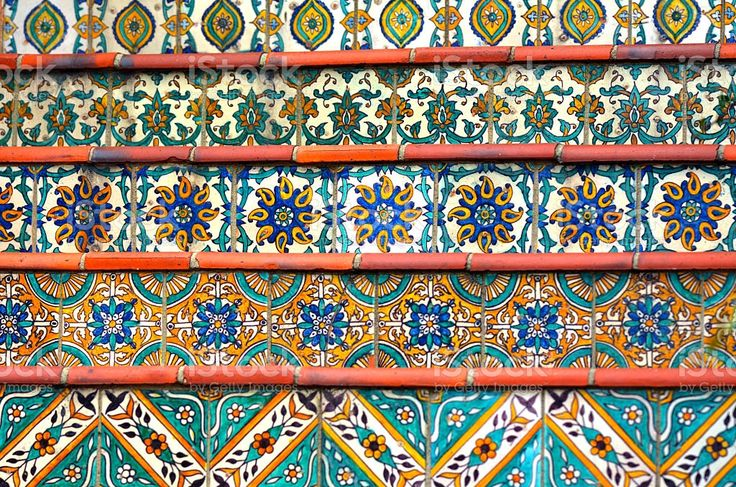Colorful Spanish tiles decoration on stairway.background