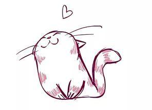 кот, мило, рисунок.