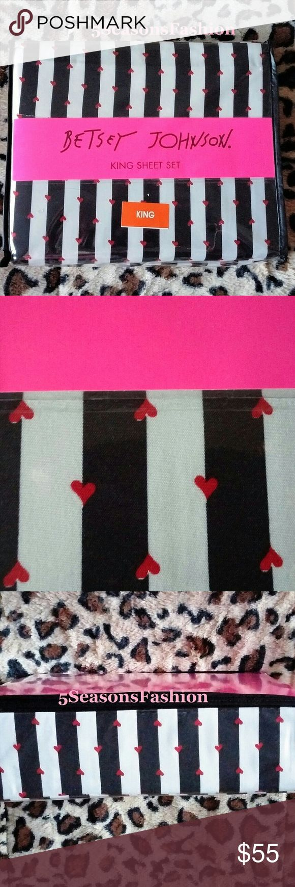 BETSEY JOHNSON King Sheets SET Striped Red Hearts Bold and contemporary 4 piece set of king size sheets by Betsey Johnson. Set includes 2 king pillowcases, 1 king flat sheet and 1 king fitted sheet. Black and cream striped with tiny red hearts pattern. Polyester microfiber fabric. Xox Betsey collection. Betsey Johnson Other