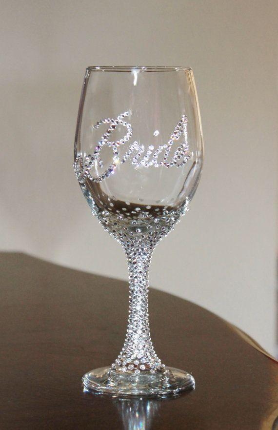 Custom Swarovski crystal BRIDE wine glass -20 oz. -Personalized for bridal showers, weddings, bachelorette parties I SO NEED THIS!!!!!!!