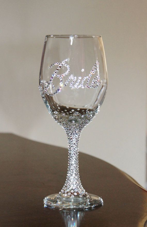 custom swarovski crystal bride wine glass bride glass