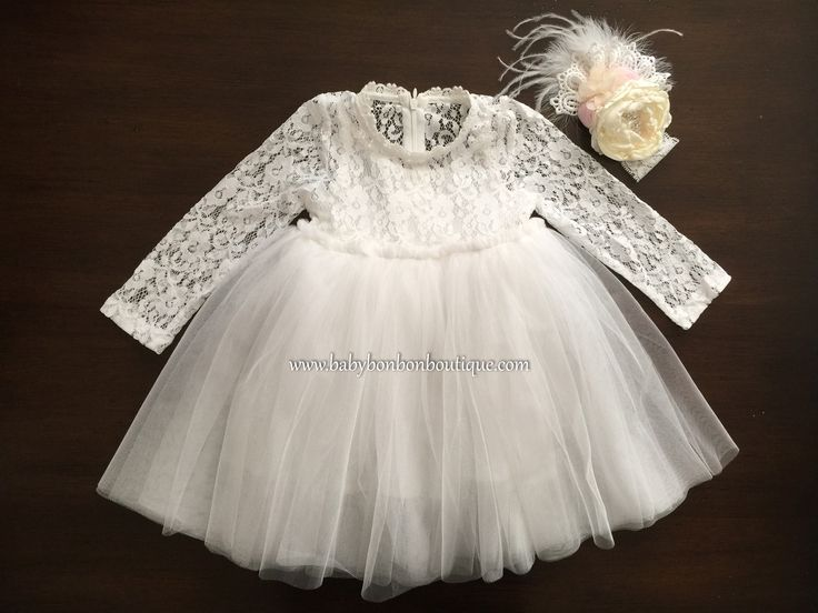 French White Ballerina Baptism Dress with Headband                                                                                                                                                                                 More