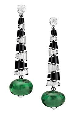 Bulgari  {{{sigh}}}  love the sharp angles of black/crystal against the natural round emeralds