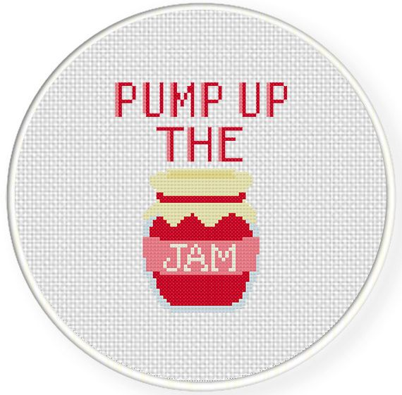 FREE for July 26th 2014 Only - Pump Up the Jam Cross Stitch Pattern. #puns #cross_stitch #patterns