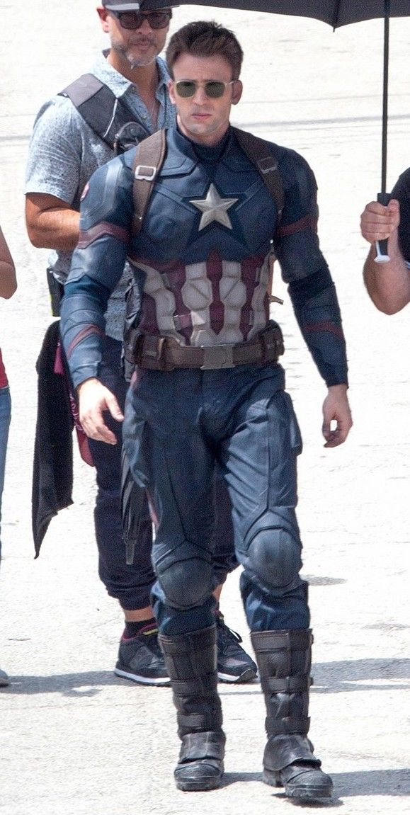 "Chris Evans on the set of ""Captain America: Civil War"" <3<3<3"