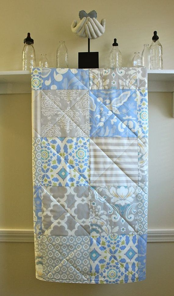 Baby Quilt - Taza - in Grey, Periwinkle Blue, and Ivory - Gender Neutral