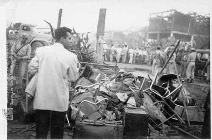 Cuál fue la mayor explosión accidental (y más mortal) de la historia? Explosión en Cali (Colombia) el 7 de agosto de 1956. Imagen: Archivo Biblioteca Departamental Jorge Garcés Borrero.. La más grande de cuantas explosiones no provocadas se han producido en la Historia bien por accidente bien por imprudencia es quizá una de las más olvidadas. Incluso el monumento que la recuerda se pierde en un cruce de calles y nadie parece verlo al pasar en automóvil por su lado.  El 7 de agosto de 1956…