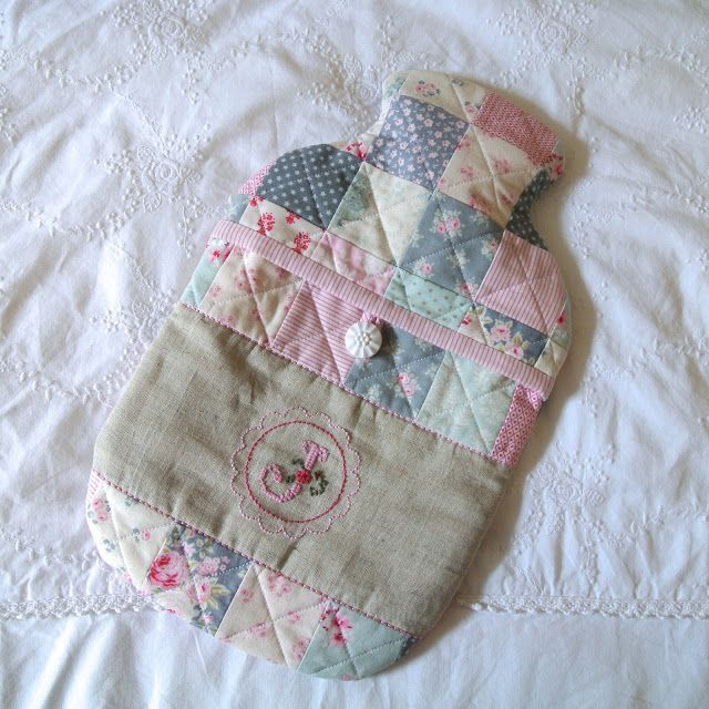 Sew Sweet Violet ~ Patchwork hot water bottle cover