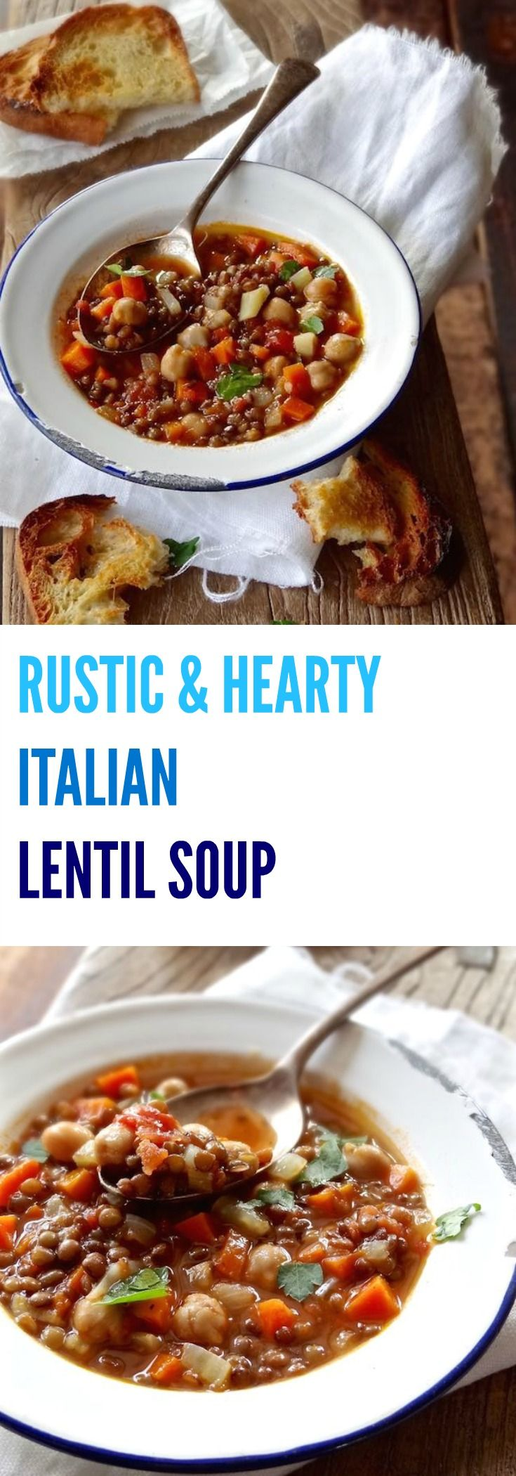 Don't let the simplicity of this RUSTIC & HEARTY ITALIAN LENTIL SOUP fool you. It's so easy to throw together and hearty enough for a complete meal | Plus Ate Six