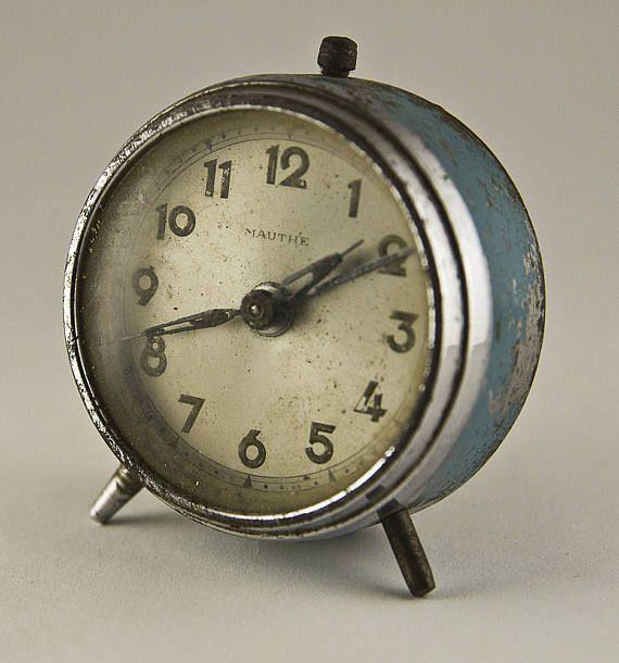 Vintage German Not Working mechanical desk alarm clock - Germany 1930s, Alarm Clock, Desk Clock, Mechanical Clock, Made in Germany