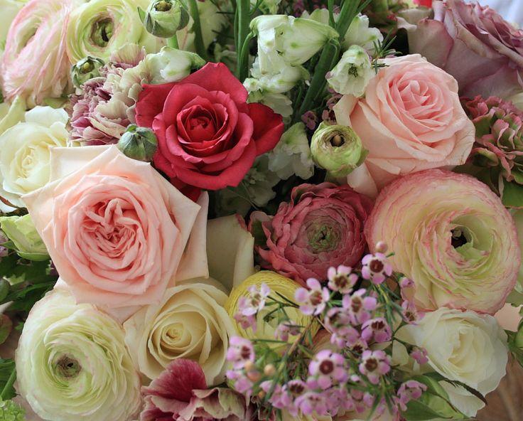 Tafelstuk roze en groen
