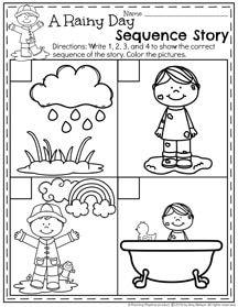 Hoja de trabajo de preescolar Secuencia - Mi día lluvioso Orden de los sucesos