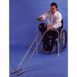 This is very well known when it comes to bowling allies. This equipment helps those that have mobile disabilities be able to participate in bowling. They take the ball and place it on top of the ramp and push it ever so lightly to make it go down the lane. It is a light object that can be lifted by a partner to be placed.