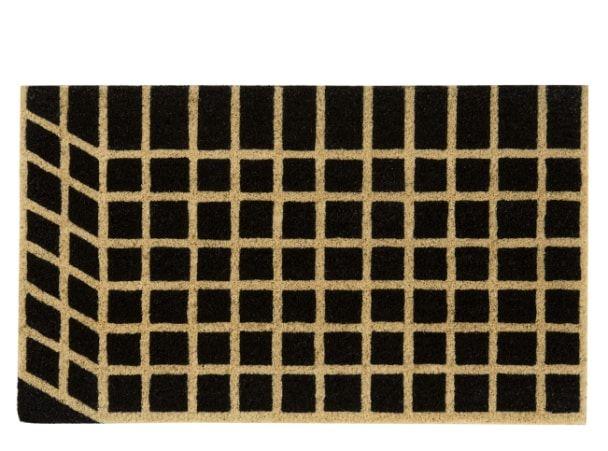 Vico Grid Doormat 45 x 75cm, Black and Natural