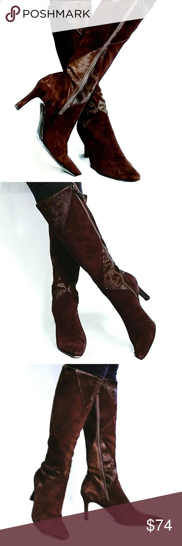 ANTONIO MELANI Suede & Mohair STUNNER pair of boots by Antonio Melani features a deep, rich, reddish-brown suede leather and mohair combination in a patchwork design. Warm and perfect for an exceptionally cold winter, these boots will keep you tootsies toasty through the coldest snaps. EUC. Have been worn twice. Heel, toe-tips, all materials in tact. Only the soles show normal, but minimal wear. I live in Texas. These beauties need to be wooorn and showcased!! ANTONIO MELANI Shoes Heeled…