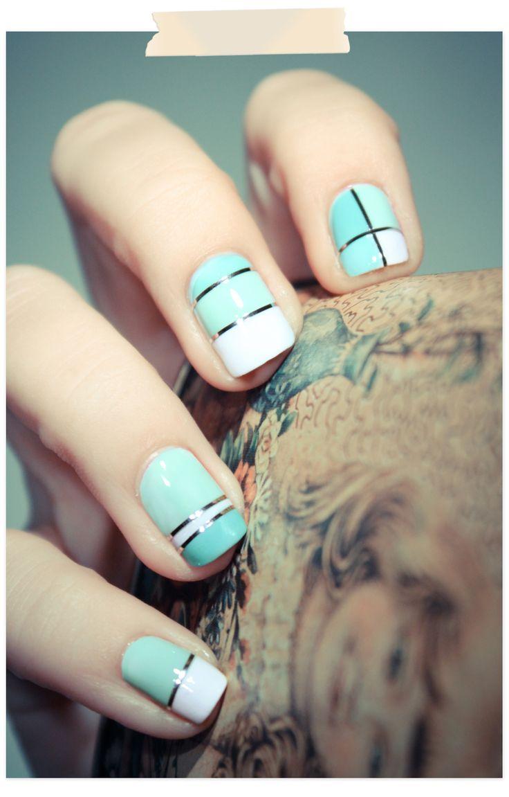 Striped aqua nails