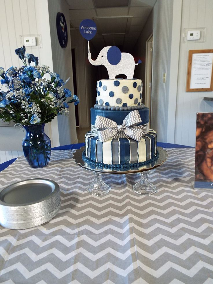 Elephant baby shower cake navy blue grey and white