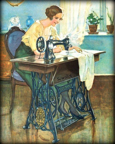 Открытка со швейной машинкой