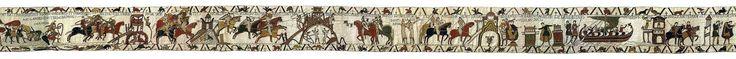 Tapiz de Bayeux. Fines de 1100 d.C. Musée de la Tapisserie de Bayeux. Bayeux, Normandía. Francia.  Aunque recibe el nombre de tapiz es un paño ornamental bordado en su totalidad, compuesto por 9 fragmentos de 68,8m de largo, 50cm de altura media y un peso aproximado de 350 kg. Se empleó principalmente lana en cuatro colores de base (rojo, amarillo, verde y azul) y ocho tonalidades de tintes vegetales de la época como la gualda, la purpura o el índigo.