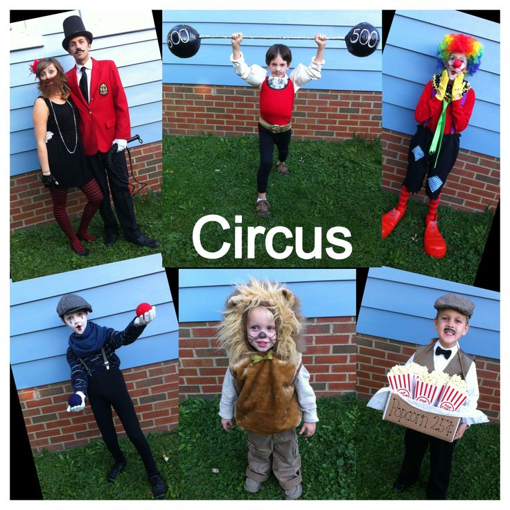 Circus halloween costumes  Ringmaster, bearded lady, strongman, clown, mime, lion, and popcorn vendor! Family costumes/ group costume  2013 family costumes