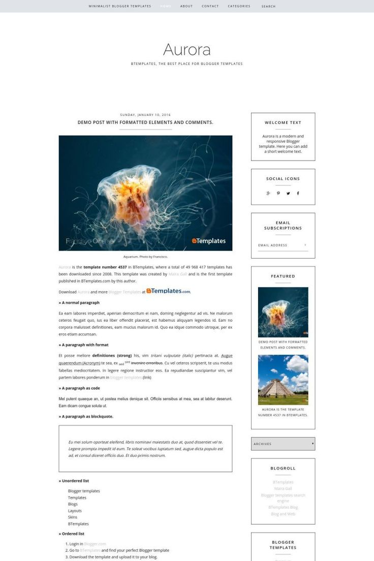 Aurora is a free premium Blogger template with 2 columns ...