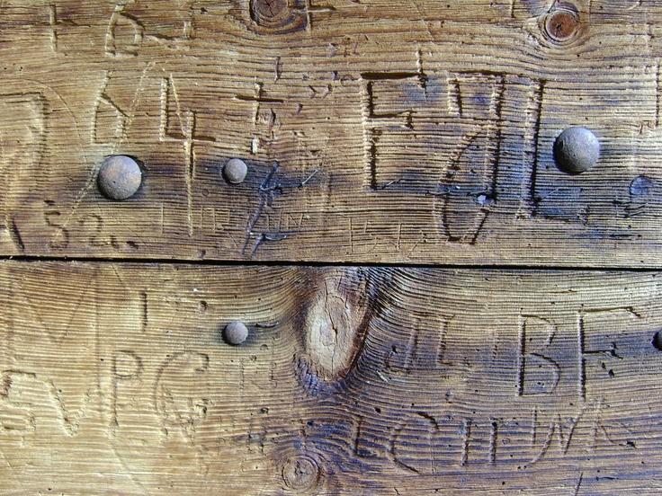 Wooden door, Nendaz, Wallis, Switserland