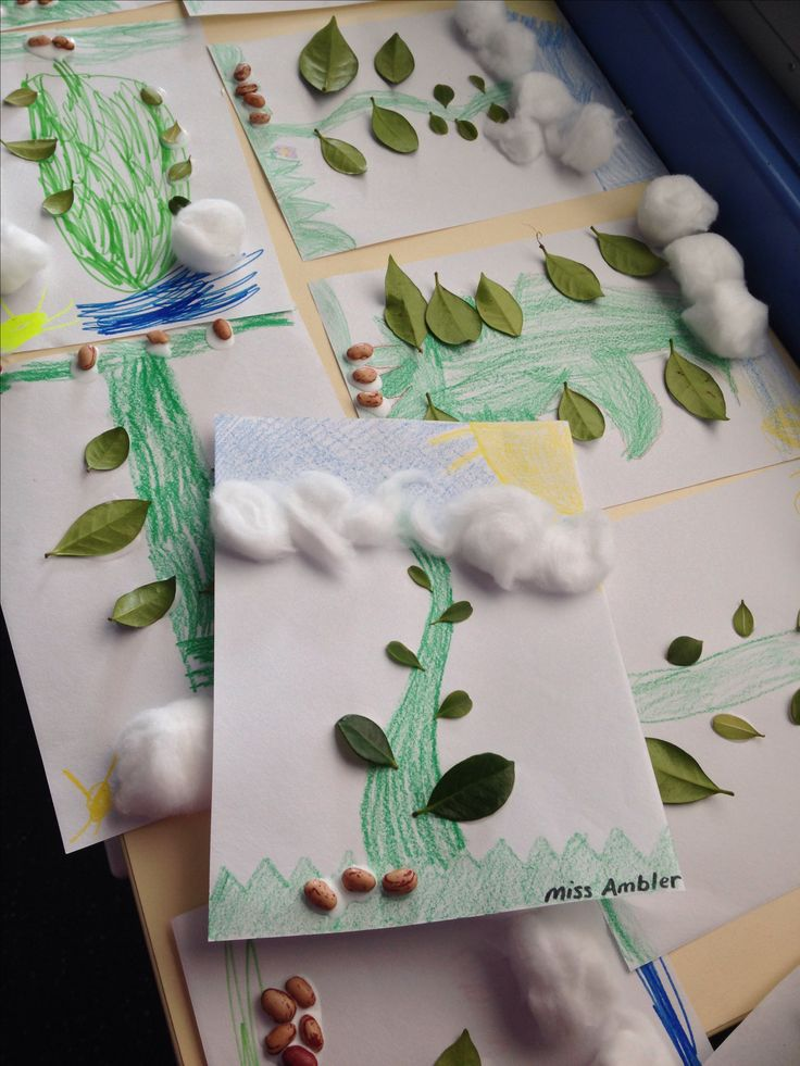Jack and the Beanstalk mathematics and craft activity: ask students to count out magic beans, leaves, and clouds. S1 Maths and Art